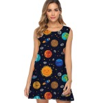 tribute to Background-with-planets-2019-Dress-Women-Harajuku-fashion-Print-Summer-Dress-A-line-Sleeveless-Ladies-Casual